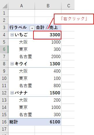 ピボットテーブルの行で1項目目の値を右クリック