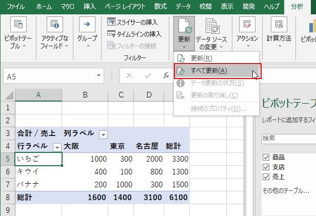 いずれかのピボットテーブルを選択して分析タブ→更新の矢印ボタン→すべて更新をクリック