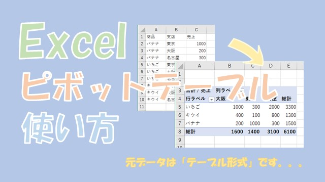 【Excel】ピボットテーブルの使い方【テーブル形式から一覧表を作成】