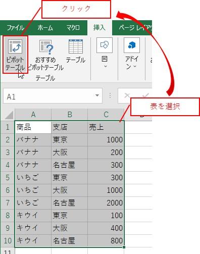元データを選択して、挿入タブ→ピボットテーブルをクリックする