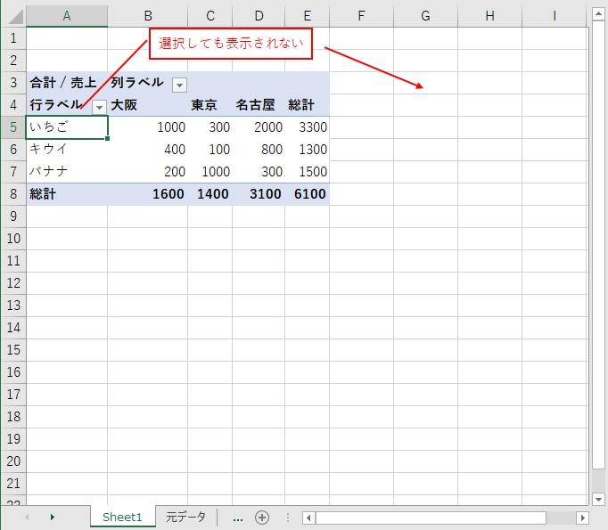 ピボットテーブルのフィールドリストを閉じると、ピボットテーブルを選択しても、表示されない
