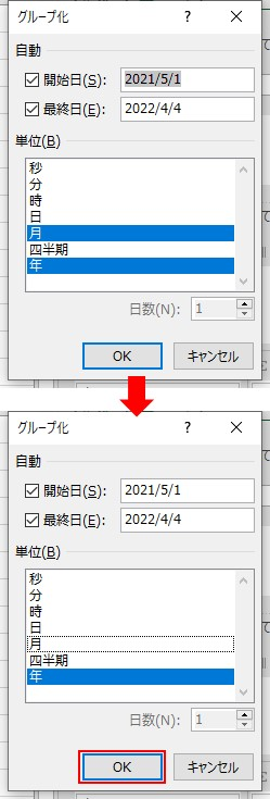 グループ化の画面で、「年」を選択する