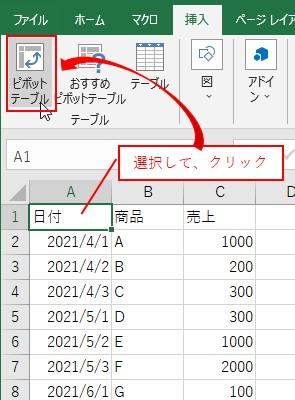 元データを選択して、挿入タブ→ピボットテーブルを選択する