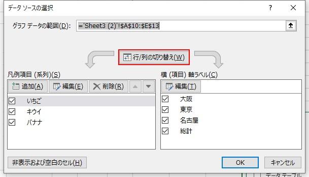 データソースの選択から行と列の切り替えをクリックします