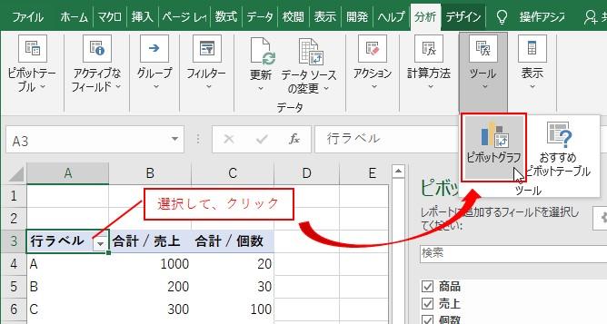 ピボットテーブルを選択して、分析タブ→ツール→ピボットグラフを選択する
