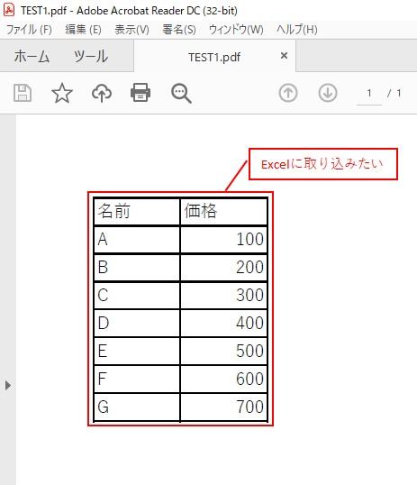 やりたい内容は、PDFのデータをExcelに取り込みたい、ということになります