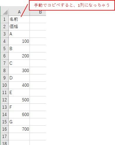 Excelに貼り付けると、1列のデータとなってしまいました