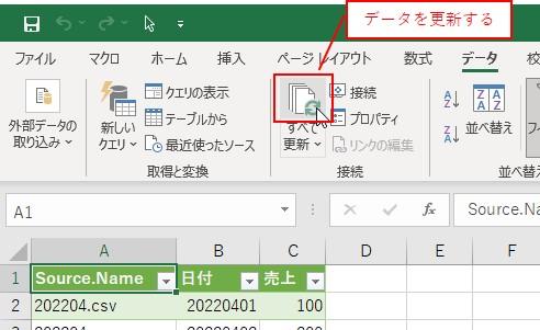 「データ」タブ→「データの更新ボタン」をクリックします