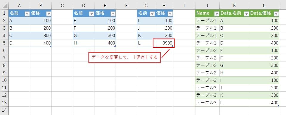 テーブルのデータを変更して、「保存」してみます