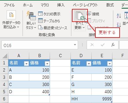 「データ」タブ→更新ボタンをクリックします