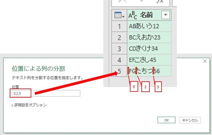 「0、2、5」というように、分割する文字の位置を入力します