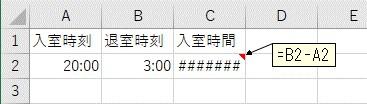 日付をまたいだ時間の引き算をした結果