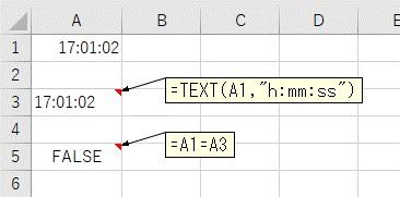 TEXT関数で変換する前と後で、値が一致するかを確認