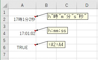 同じ時間を入力して、表示形式を変更した2つの時間を、比較