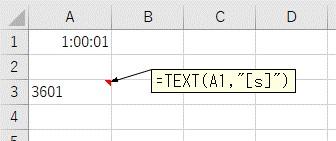 「[s]」の表示形式を使ってTEXT関数で変換した結果