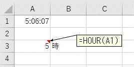 HOUR関数で「時間」だけを抽出した結果