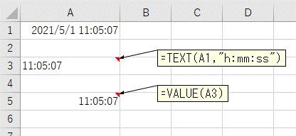 TEXT関数とVALUE関数で時間のみを抽出した結果