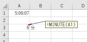 HOUR関数で「分」だけを抽出した結果