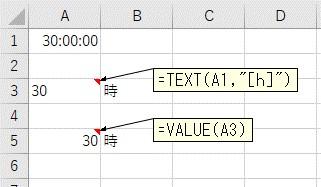 TEXT関数とVALUE関数を使って24時間以上を抽出した結果
