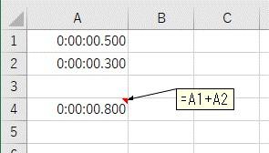 2つのミリ秒の足し算をした結果