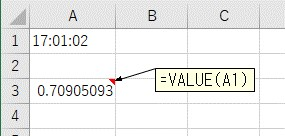 VALUE関数を使って文字列の時間をシリアル値に変換した結果