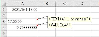 VALUE関数で文字列の時間をシリアル値に変換