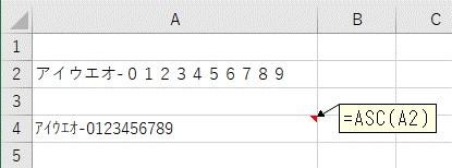 ASC関数で全ての文字列を「半角」に変換する