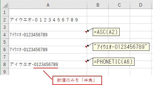 PHONETIC関数でカタカナを全角に変換した結果