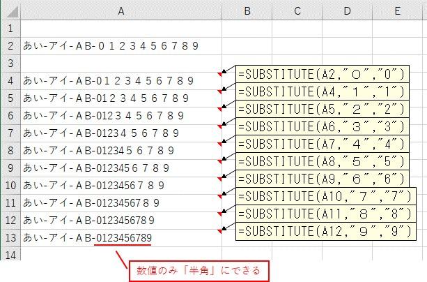 SUBSTITUTE関数で全角の数字を半角に変換した結果
