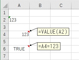 VALUE関数を使って文字列を数値に変換した結果が数値かを比較する