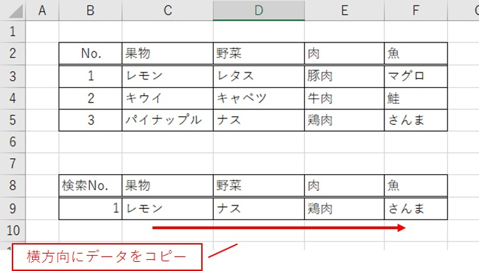 Excel関数Vlookup 横方向にコピーした場合ずれます