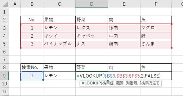 Excel関数Vlookup 『$』を使って横方向にコピーしてもずれない2つ目