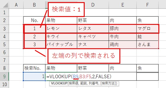 Excel関数Vlookup 検索値を設定