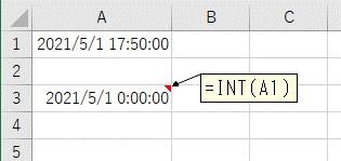 INT関数を使って日付+時間から日付だけを抽出した結果