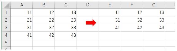 4行3列の2次元配列から2行目を削除した結果