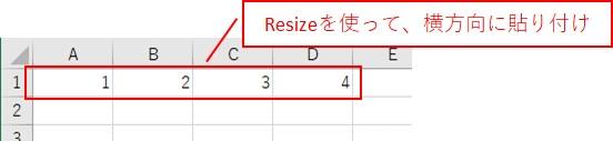 1次元配列を「Resize」を使って、横方向に貼り付けした結果