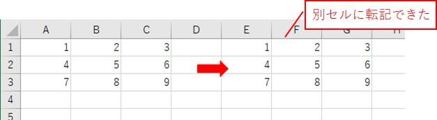 2次元配列をセルに貼り付けた結果