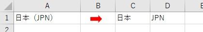 カッコ内の文字列をSplitを使って分割して切り出した結果