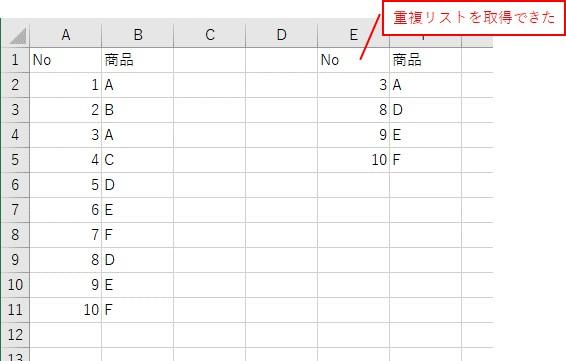 VBAでCountIf関数とオートフィルタを使って重複するリストを抽出した結果