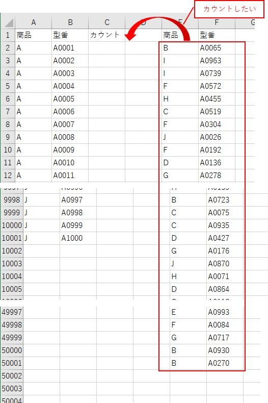 大量データで複数条件に一致するセルをカウント