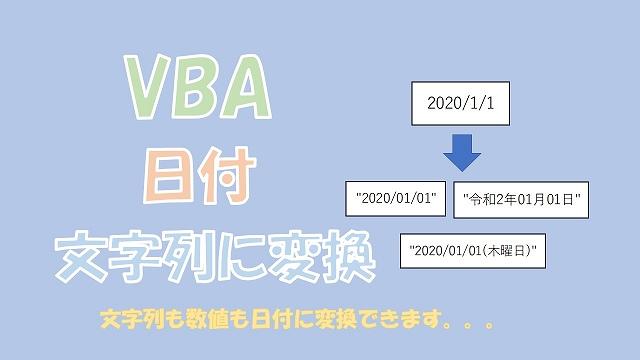 【VBA】日付を文字列に変換【CStrかFormatを使う】