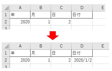 DateSerialを使って年月日を日付に変換した結果