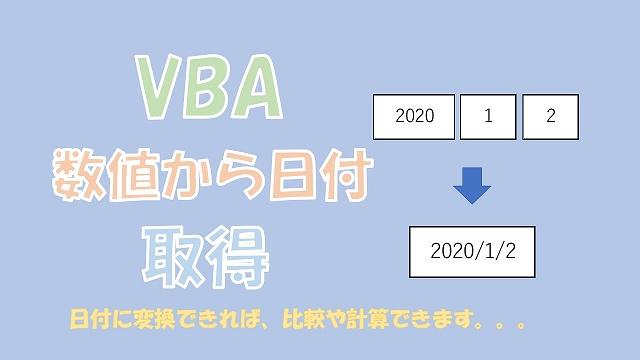 【VBA】年月日の数値を日付に変換【DateSerialを使う】