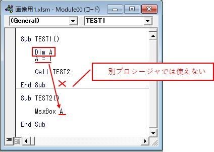 プロシージャ内で「Dim」を宣言した場合では、別プロシージャで変数は使えません