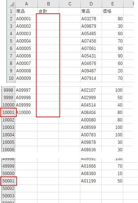 10,001行×50,001行のデータを用意