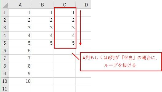 A列もしくはB列が「空白」の場合に、ループを抜けます