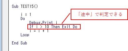 「Do Loop」の場合は、「途中」でループを判定をします