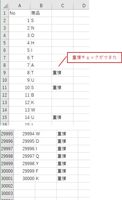 WorksheetFunctionのCountIfを使って、重複をカウントした結果