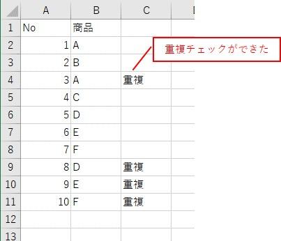 WorksheetFunctionのCountIfを使って、重複をチェックした結果