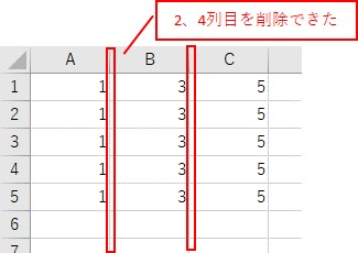 RangeとEntireColumnを組み合わせて複数列を削除した結果